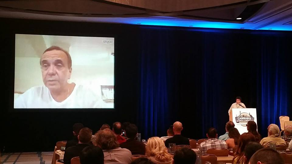 Ben Dronkers, founder of Sensi Seeds, accepts a lifetime achievement award for mixing activism with commerce from Borneo via Skype. Todd McCormick presented the award.