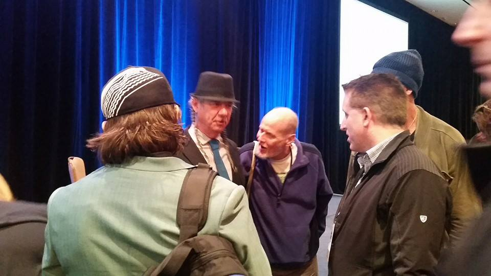 Harborside's Steve DeAngelo greets fans after his time on the ICBC stage.