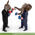 Democrat Donkey boxes Republican Elephant