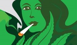Cannabis Woman smoking a joint