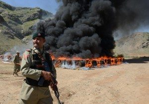 Pakistan paramilitary burns heroin