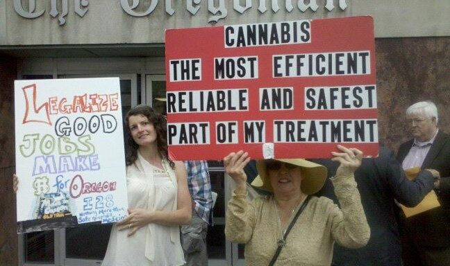 Cannabis activists protest at The Oregonian