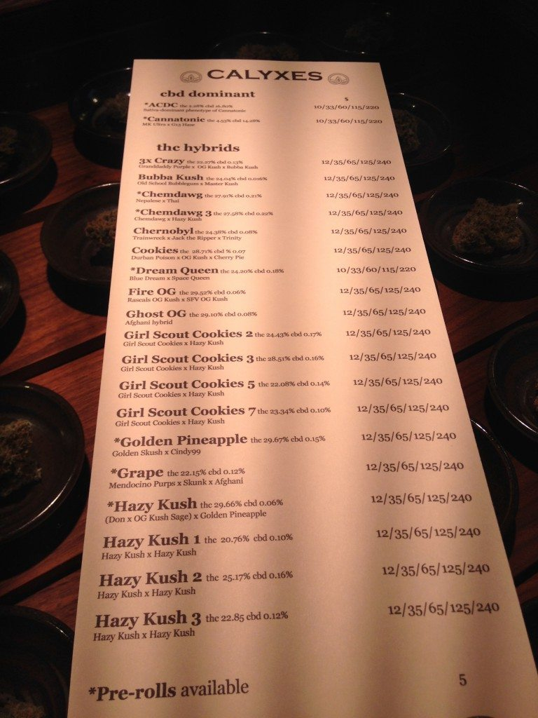 Flower menu at Calyxes
