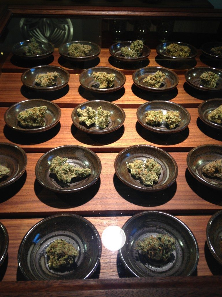 Organic cannabis flowers on display at Calyxes