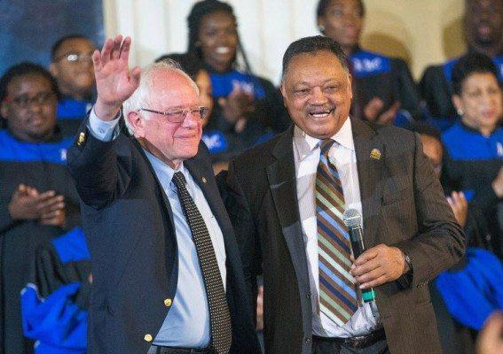 Bernie Sanders and Jesse Jackson