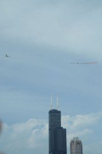 Activists ly banner over chicago