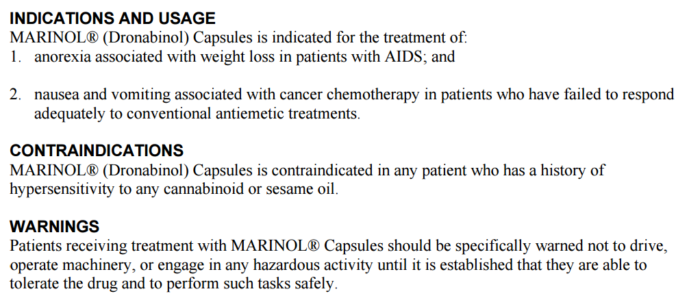 Marinol Warning