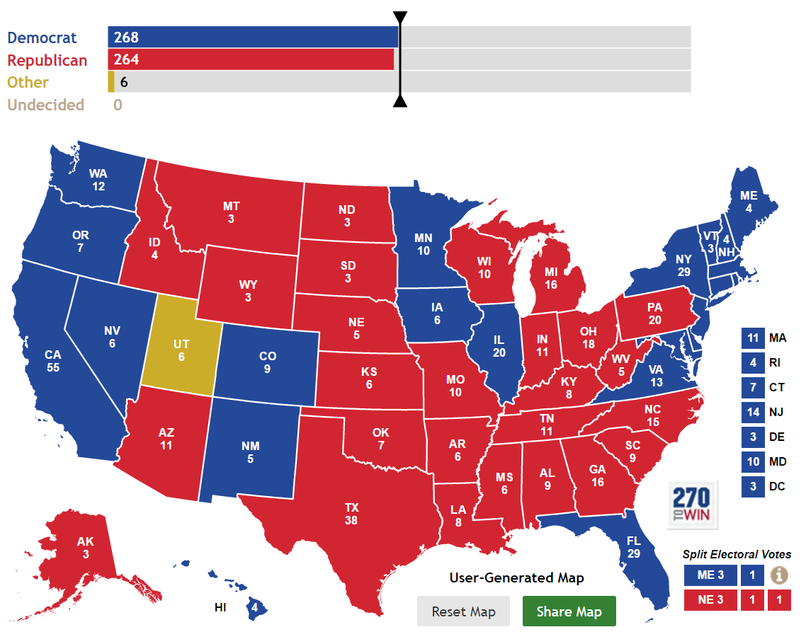 "Michael Moore's ""Rust-Belt Brexit"" electoral map if Gary Johnson takes Utah, denying both Clinton and Trump the 270 electoral votes needed to win."