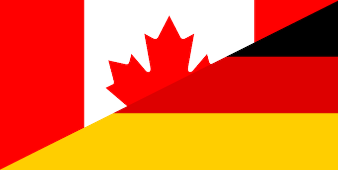 flags of Canada and Germany